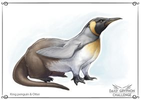 Gryphon Challenge 23: King penguin and Otter by GaiasAngel