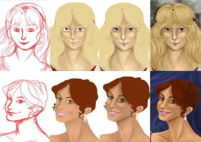 Step by step of two portraits by AalienoOr