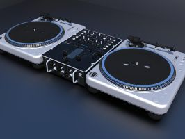 2 turtntables and a mixer by shareck