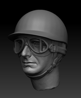 Zbrush render of Fangio  in helmet by imagination-heart