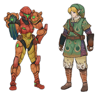 Samus and Link: MH style by wyvernsmasher