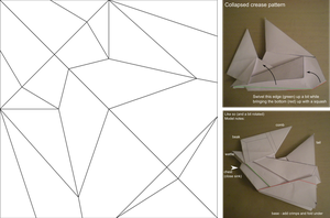Origami Chicken Hat Crease Pattern by Cahoonas