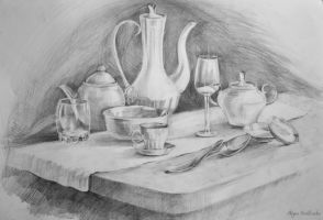 Glass still life by Halyna-Venhlinska