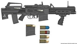assault grenade launcher with bull pup m16 by mrbodedes