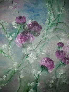 violet red rose,oil on canvas by irmaGallerys
