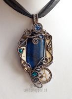 Midnight blue steampunk pendant by ukapala