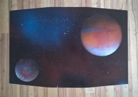 Space spray paint table by RetardedDogProductns