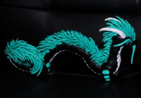 Black and Teal Oriental Dragon by xColere