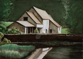 Old Farm House reflected in the pond by thelastcelt