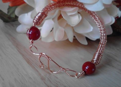 Copper and Red Bead Viking Knit Bracelet by ChristinasWerkstatt