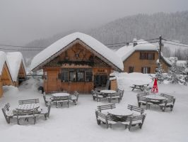Snowy and decorated snack chalet by A1Z2E3R