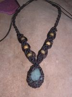 Macrame and stone necklace by moonlightflower99
