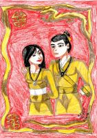 Mulan and Shang in Gold by IsisConstantine