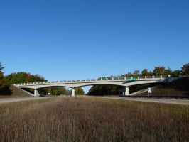 Michigan Curved T-Beam Overpass by historicbridges