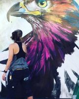 Painting Red Tailed Hawk Mural by charfade