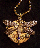 Steampunk Dragonfly Pendant by mymysticgems