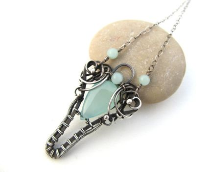 aqua chalcedony and amazonite necklace by annie-jewelry