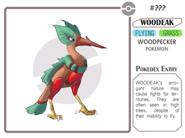 Fakemon - Woodeak by AdamantShimmer