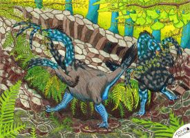 Therizinosaurs by NocturnalSea