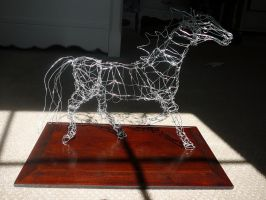 Wire Contour Sculpture Horse by tawnialestrange