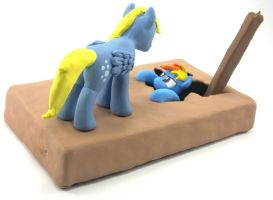 Talking Derpy Hooves and Rainbow Dash sculpture 4 by MadPonyScientist