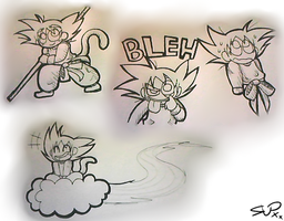 Son Goku- sketches by KelCasual