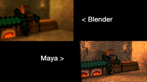 Maya VS Blender (Minecraft Scene) by Godofnothing513
