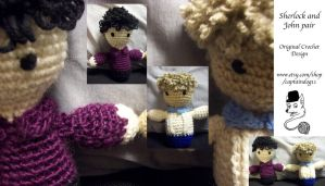 Sherlock and John pair amigurumi by oddsterinJpan