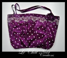 Purple Polka Dot Bag With Flower by LeChatNoirCreations
