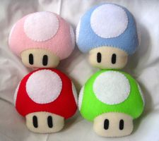 Mario Mushroom Plushies by P-isfor-Plushes