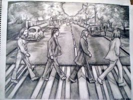 beatles abbey road drawing by xeclypsionx