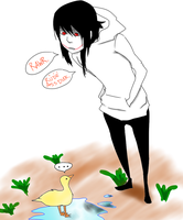 Jeff The Killer and the rude ass duck. by MikaelBratLoni