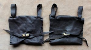 Leather belt pouches by lupagreenwolf