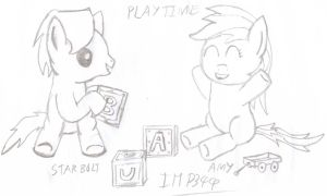 Drawing/Sketch - Star Bolt and Amy Playing by Imp344