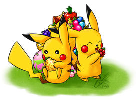 Pikachu Feast by SillyPepper