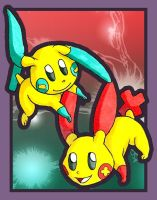 Plusle and Minun by ibroussardart