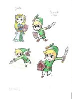 Toon Links and Zelda by DarthJader11