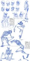 Skeletal Sketchdump by Quarter-Virus