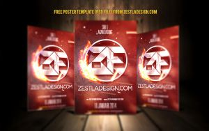 Poster Template Photoshop Free (Logo Teaser) by zestladesign
