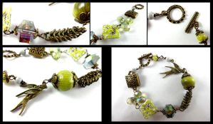 Antique Brass Wrapped Enameled Crystal Bracelet by DryGulchJewelry