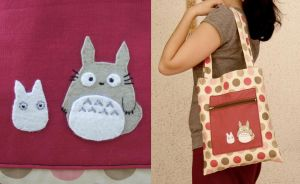 grey and white totoro bag by yael360
