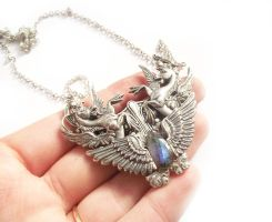 Sterling Silver Hippocampus Pendant by Hidden-Treasury