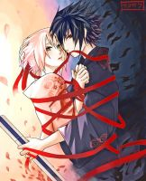 Sasusaku - Crimson Ribbon by arriku