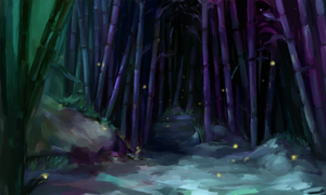 Calm of a Moonlight Forest by augipaw