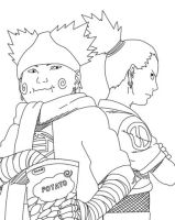 Shikamaru And Choji Lineart by CrypticRiddlers