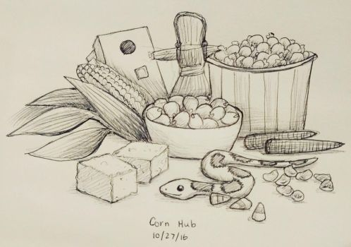 Inktober day 27 - Corn Hub by meihua