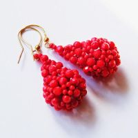 Beaded openwork earrings with coral by Sol89