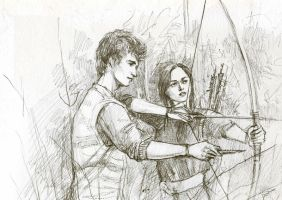 Gale and Katniss by kakao-bean