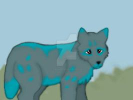 The small turquoise wolf pup by FireSinMaster