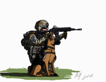 US Army dog handler by AviatorGriffin